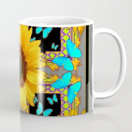 Southwest Sunflowers & Turquoise Butterflies Grey Art Coffee Mug