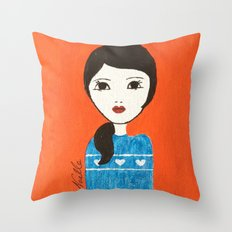Blue Sweater Throw Pillow