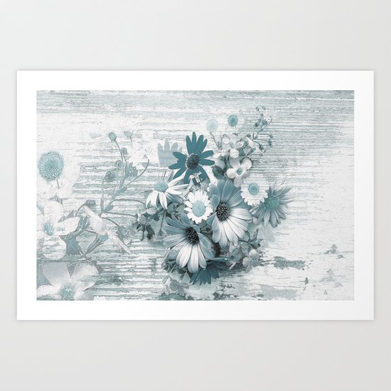 teal flowers on worn wood Art Print
