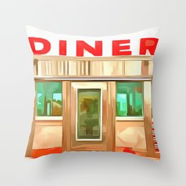 Classic American Diner Throw Pillow