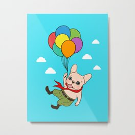 Cute Frenchie is flying away with balloons for his adventure Metal Print