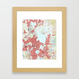 Lakeland Florida Map (1994) Framed Art Print