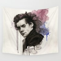 harry Wall Tapestries featuring Harry Styles by bellavigg