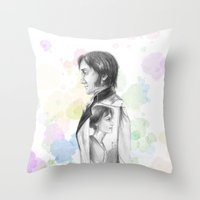 pride and prejudice Throw Pillows featuring Pride and Prejudice by Wadart