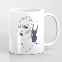 Woman in headscarf with smoky eyes. Abstract face. Fashion illustration Coffee Mug