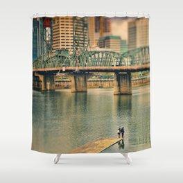 Lovers Under the Bridge Shower Curtain