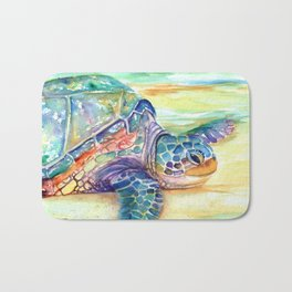 Rainbow Sea Turtle 2 Bath Mat
