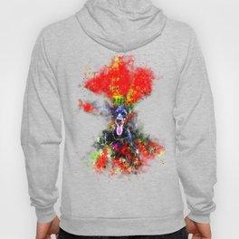 doberman dog red flowers meadow splatter watercolor Hoody