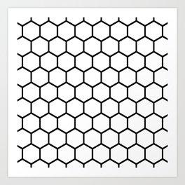 White and black honeycomb pattern Art Print