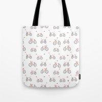 bikes Tote Bags featuring bikes by Marcelo Badari