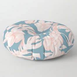 Tropical Palm Leaves and Hibiscus Pink Teal Blue Floor Pillow