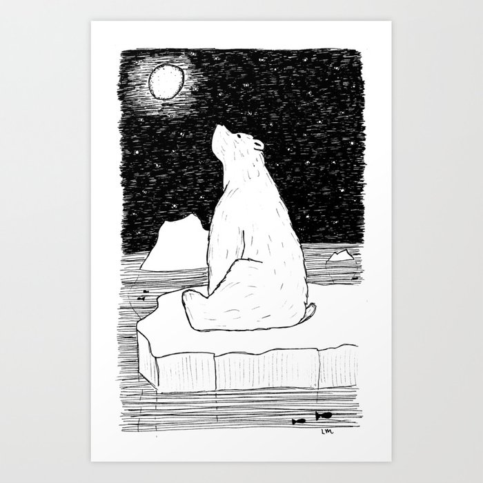 Thoughtful Polar Bear Art Print