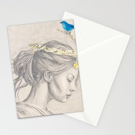 Glimmering gold crown Stationery Cards