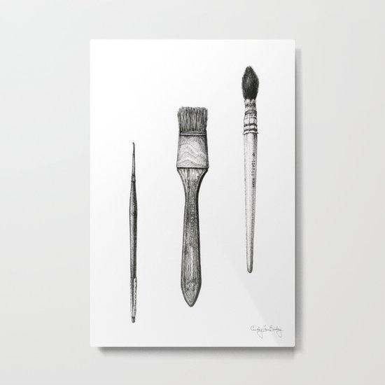 Retired Watercolor Brushes Metal Print