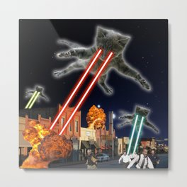 Cats Invasion Attack Cosmos Space Galaxy UFO aliens Kitty Metal Print