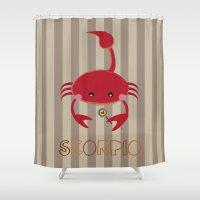 scorpio Shower Curtains featuring Scorpio by Esther Ilustra