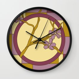 Lilac modern art nouveau flowers Wall Clock