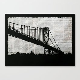 News Feed , Newspaper Bridge Collage Canvas Print