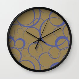 Dark Blue and Brown Funky Ring Pattern V44 Accent Shades To Pantone 2021 Colors of the Year Wall Clock