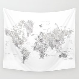 Marble world map in light grey and brown Wall Tapestry