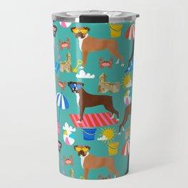 Boxer dog breed beach summer fun dogs boxers pet portrait pattern Travel Mug