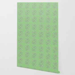 Bees and flowers pattern green Wallpaper