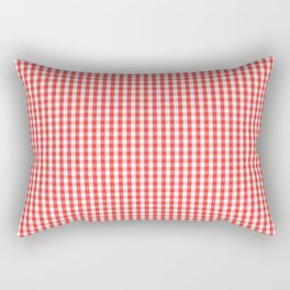 Small White and Donated Kidney Pink Halloween Gingham Check Rectangular Pillow