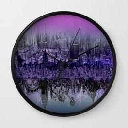 New York skyline drawing collage purple Wall Clock