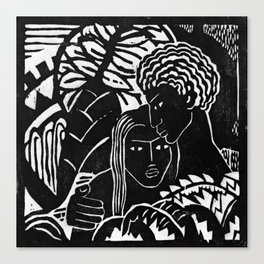 Couple Embracing - Vintage Block Print Canvas Print