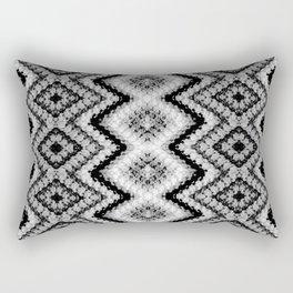 Black White Diamond Crochet Pattern Rectangular Pillow