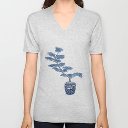 Indigo bonsai tree Unisex V-Neck
