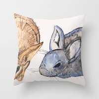 rabbits Throw Pillows featuring rabbits by 5CUZ1