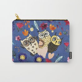 3 Wise Owls in Flower Garden at Night Carry-All Pouch