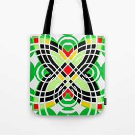 Retro 1970s Geo Butterfly Motif Tote Bag