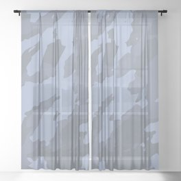 Colorful Marble Modern Light Blue Grey Sheer Curtain