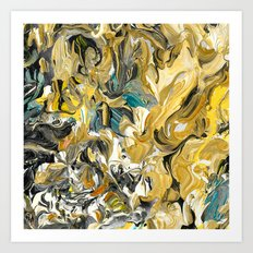 Marble Golden Planet Art Print