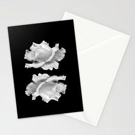 White Rose On Black Stationery Cards