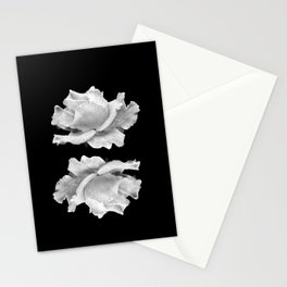 White Rose On Black Stationery Cards