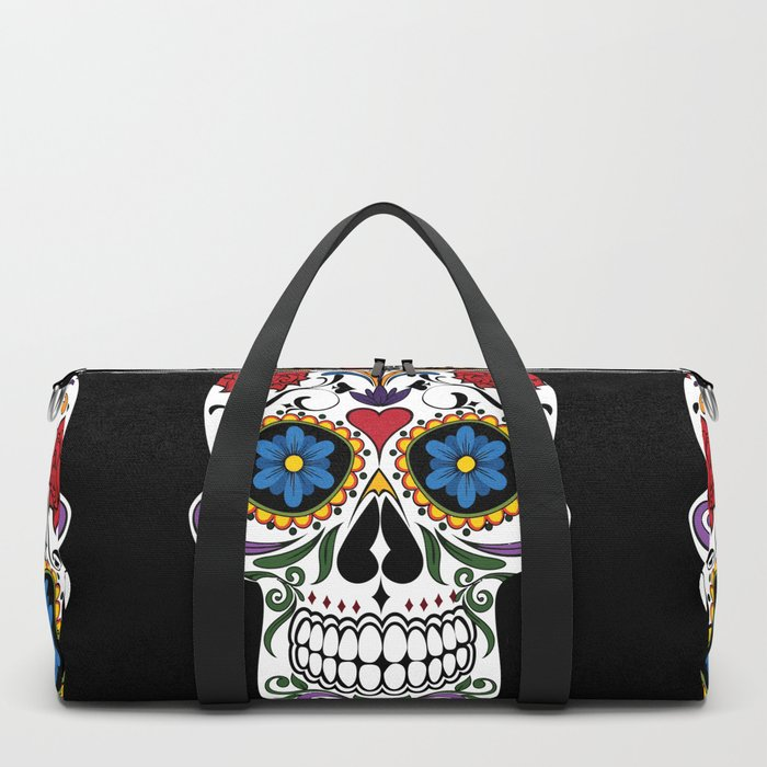 Colorful Sugar Skull Duffle Bag