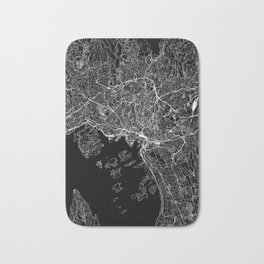 Oslo Black Map Bath Mat