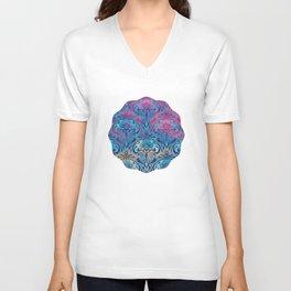 Art Nouveau,blue ombre, beautiful pattern, belle epoque,victorian,elegant,chic,modern,trendy,vibrant Unisex V-Neck