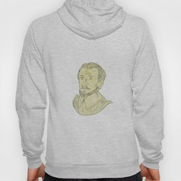 15th Century Spanish Explorer Bust Drawing Hoody