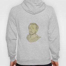 15th Century Spanish Explorer Bust Drawing Hoody