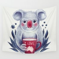 australia Wall Tapestries featuring I♥Australia by Lime