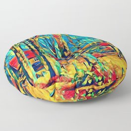 Country house in Art Floor Pillow