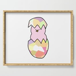 Cute Pink Baby Chick - a hatching chicken for spring and Easter Serving Tray