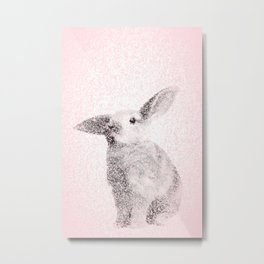 Bunny Print - Mosaic Nursery Decor, Baby Animal Wall Art Poster Metal Print