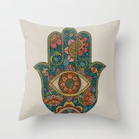 hamsa Throw Pillows featuring Hamsa by Valentina Harper