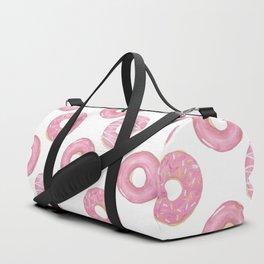 Pink watercolor donut pattern Duffle Bag