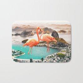 Collage, Flamingo, City, Creative, Nature, Modern, Trendy, Wall art Bath Mat